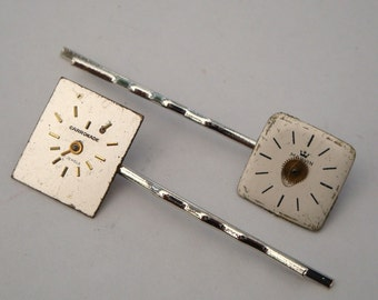Steampunk hair grip bobby pin with vintage watch face & cog set of 2