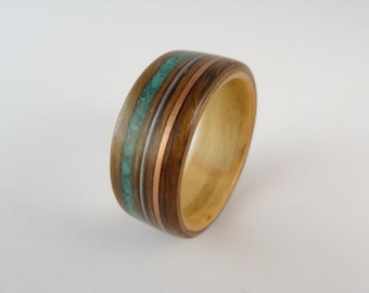 Bent Wood Ring - Shedua & Maple with Triple Inlay Bands of Turquoise, Copper and a Guitar String, Handmade to Any UK or US Size