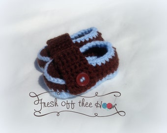 Crochet baby boy loafets slippers booties - Newborn - 12mo - Custom made to order