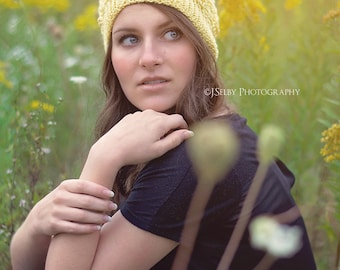 Crochet ladies slouch hat - slouchy cabled beanie  - Custom made to order