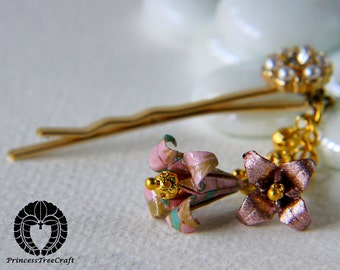 Origami Hair Bobby Pin, Pink Lilies
