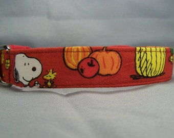 Licensed Fabric Autumn Snoopy Dog Collar, Handmade