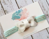 White or Silver Leather Bow on Aqua/Silver Stripes- Headband or Clip