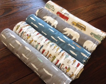 ORGANIC Burp Cloths ~ Feather River//Bears//Fish//Camping//Outdoors//Nature