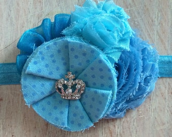 Shades of blue and turqoise headband / you choose the size