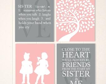Sisters wall art, twin girls wall art, twin girls nursery art, girls wall art, play room decor, custom nursery art, twins, set of 4 prints