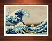 The Great Wave off Kanagawa Hokusai FINE ART PRINT, Japanese famous art prints, 36 views of Fuji, ocean landscape, japanese wall art posters