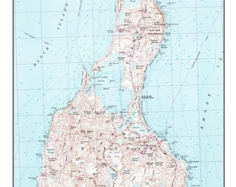Block Island 1998 Old Topographic/Nautical Map - Custom Reproduction Rhode Island USGS