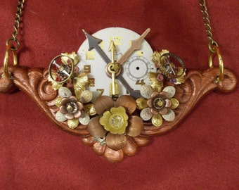 Copper Clockwork Flowers: Upcycled Steampunk Necklace with Vintage Watch Face