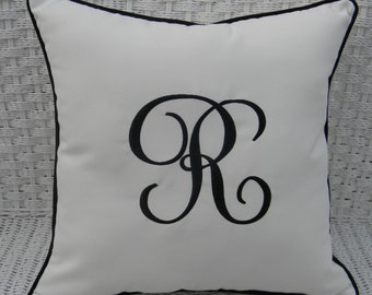 "Monogram Initial Indoor / Outdoor Sunbrella White Fabric With Sunbrella Black Cording Decorative 17"" Pillow"