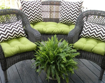 Outdoor Wicker Cushion and Pillow 7 pc. set - Solid Kiwi Green Cushions with Brown & Ivory Chevron Pillows