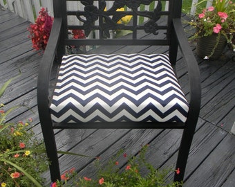 Indoor / Outdoor Foam Universal Chair Seat Cushion with Ties -  Navy / Dark Blue & Ivory Chevron - Choose Size