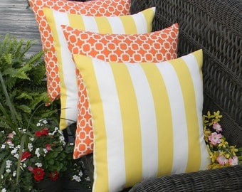 "SET OF 4 Pillow Covers - 20"" Indoor / Outdoor Pillow Covers - 2 Orange and White Hockley & 2 Yellow and White Stripe"
