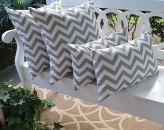"""Set of 4  - Gray / Grey and White Zig Zag Chevron 17"""" Square & Rectangle Indoor / Outdoor Throw Pillows"""