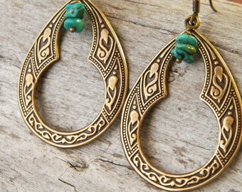 Boho earrings - gypsy earrings - Gift for Her - turquoise earrings - Sundance style earrings - large hoops