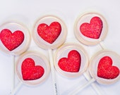 6 Valentine Heart Glitter Lollipops by Designer Lollipop - designerlollipop
