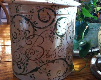 Hand Painted Biscotti Jar Large