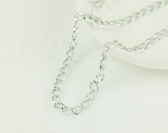 10ft Aluminum Silver Chain, Aluminum Twisted Flat Wire Chain, Cable Chain,  9x5.3mm, 06B7.0F