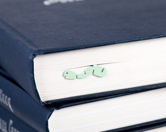 Metal Bookmark // Happy Bookworm mint color // Present for book lover //gift packaging ready to give // Free shipping // stocking stuffer