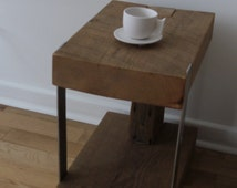 Reclaimed wood and Metal Side Table. Modern Rustic End Table. Barn Wood Furniture.