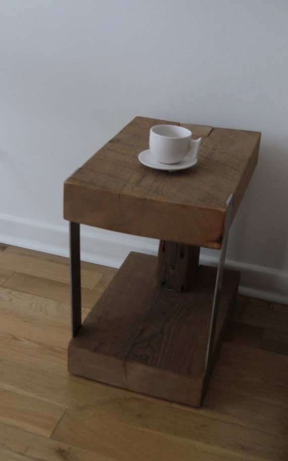 Reclaimed wood and metal side table modern rustic end