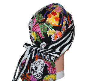 Surgical Scrub Hat Scrub Cap Tie Back - Front Fold Ponytail Scrub Hat Skulls Wedding Black Red Blue Orange Purple Pink Zebra