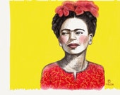 Frida Kahlo 8x10 art print in yellow.                               Created on my Ipad with the app Paper 53.