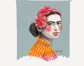 Frida Kahlo 8x10 art print in Grey,                               Created on my Ipad with the app Paper53