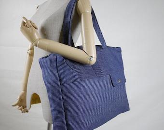 SALE - Hip Boho Dark Blue Striped Cotton Canvas Women Bag Tote/ Shoulder Bag/ Travel Bag/Everyday Bag/ Diapers Bag - B022
