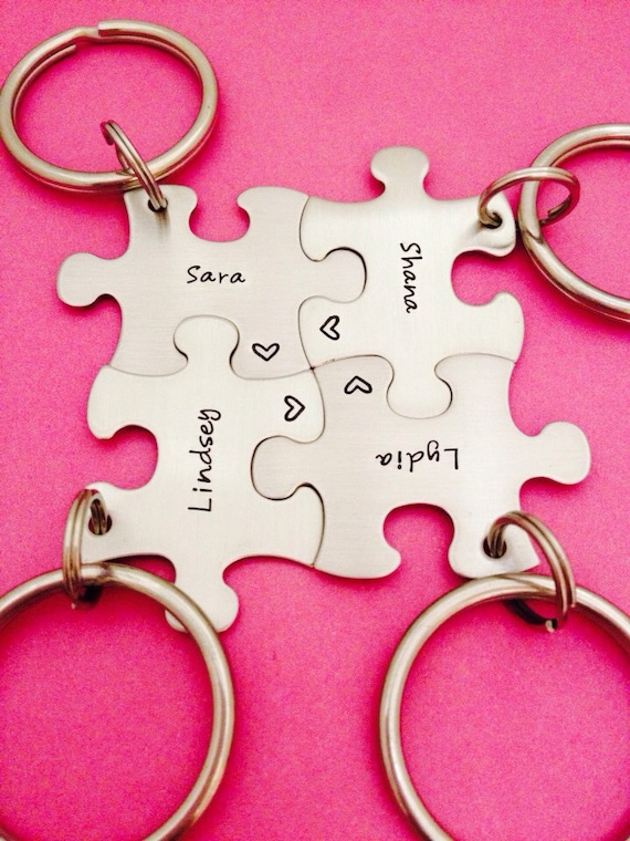 Customized Puzzle Piece Key Chain Personalized By One27designs
