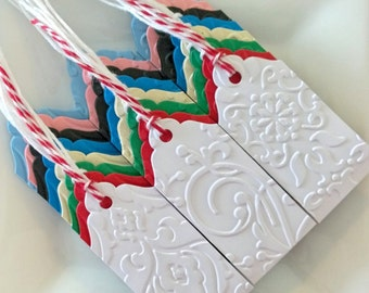 Elegant gift tags {SET of 3}.  Embossed, double-layered, & handmade.