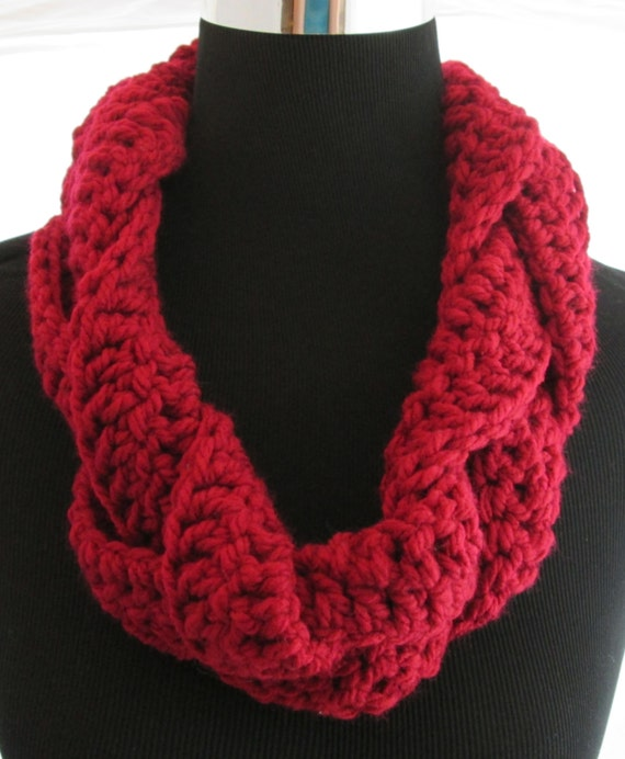 Deep Red Braided Crochet Infinity Scarf by HandmadeByHance