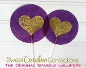 Purple and Gold Wedding Favors, Heart Lollipops, Gold Favors, Gold Wedding Favor, Lollipops, Sweet Caroline Confections- -Set of Six