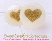 Valentines Day Lollipops, White and Gold Wedding Favors, Gold Favors, Gold Wedding Favor, Lollipops, Sweet Caroline Confections-Set of Si