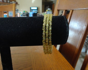 Memory Wire Bracelet-Amber seed Beads