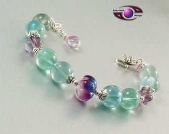 Fluorit  in Menthol Grün Silber Armband   Bracelet Semi precious Stone Gemstone