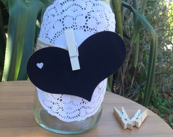 Love Heart Wedding Table Number/place cards - Chalk Board love heart shapes with peg. Pack of 12
