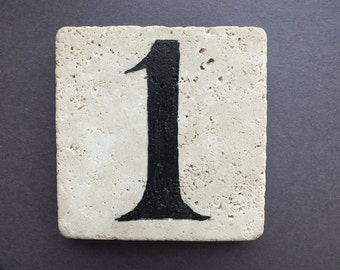 Natural Travertine Stone Numbers (mounting NOT INCLUDED)