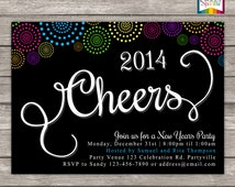 Cheers 2014 New Years Fireworks Party Invitation - Personalized Digital Custom Invite 4x6 or 5x7 jpg or pdf