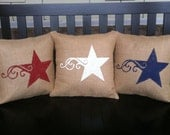 Burlap Stars Pillow Cover, 4th of July Pillow Cover, Patriotic Pillow, USA Pillow, Stars Pillow, Memorial Day Pillow