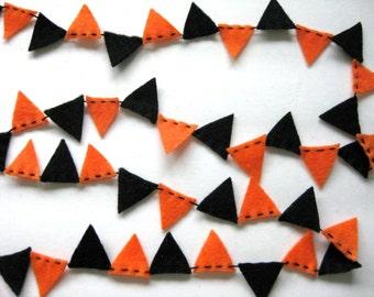 Halloween Mini Bunting Felt Garland in orange and black - 8 ft long