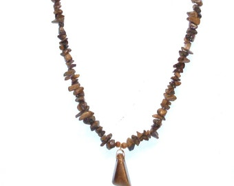 Handmade Tiger Eye Stone Necklace with Tiger Eye Nugget Pendant