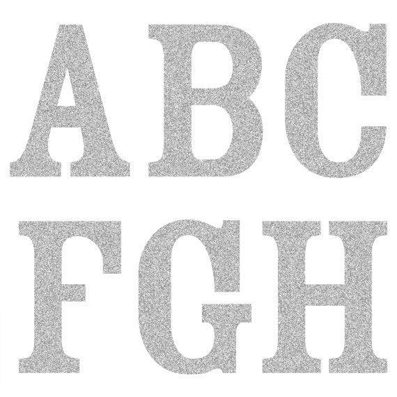 sale silver glitter alphabet clipart scrapbook letter