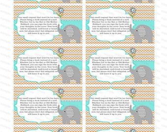 Bring a book insert baby shower invitation bring a book instead of a card elephant baby shower invitation insert boy baby shower (01t1)