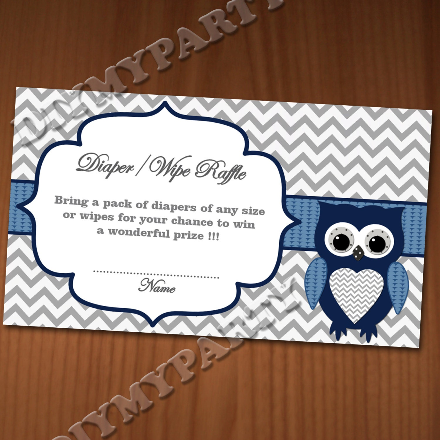 Baby Shower Diaper Raffle: Owl Baby Shower Diaper Raffle Ticket Diaper Wipe Raffle Card