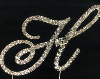New Rhinestone Crystal Monogram Letter  H Wedding Cake Topper