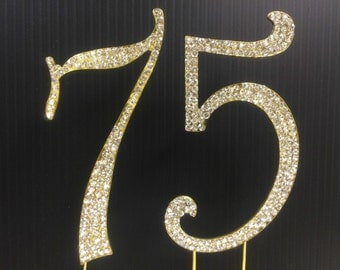 Rhinestone Gold  NUMBER (75) Cake Topper 75th  Birthday Parties FREE SHIPPING