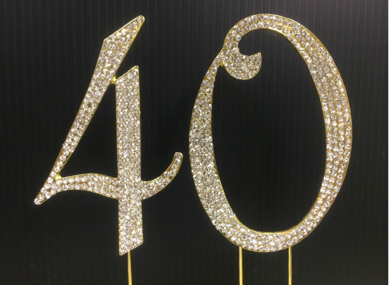 Rhinestone Gold Number 40 Cake Topper 40th Birthday