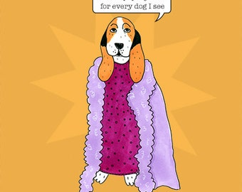 Funny, quirky, Shirley Basset greeting card
