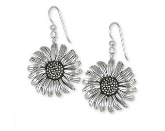 Solid Sterling Silver Daisy Flower Earrings Jewelry  DY5-E